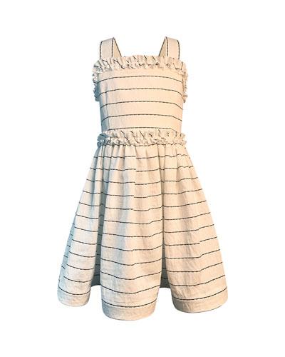 Girl's Wavy Striped Sun Dress  Size 7-12