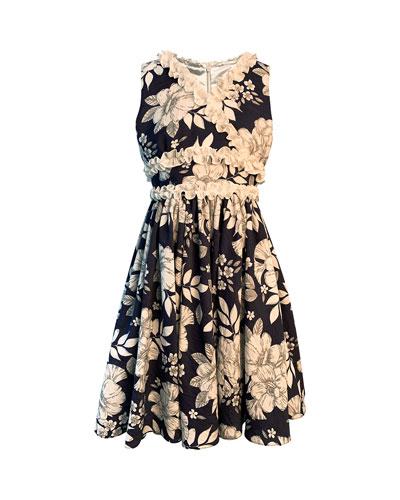Girl's Floral-Print Dress w/ Ruffle Trim  Size 7-14