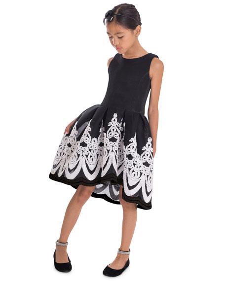 Girl's Brenna Passementerie Embellished Neoprene Dress, Size 7-16