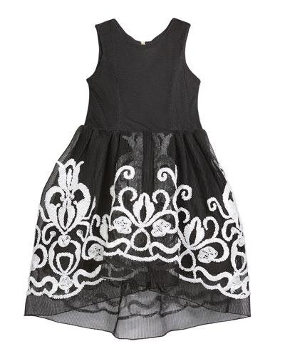 Girl's Brenna Passementerie Embellished Neoprene Dress  Size 7-16