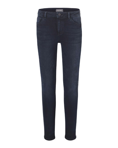Image 1 of 1: Girl's Chloe Skinny Metallic Side-Taping Jeans, Size 7-16