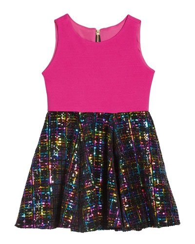 Girl's Stacey Rainbow Sequin Knit Bodice Dress  Size 4-6X