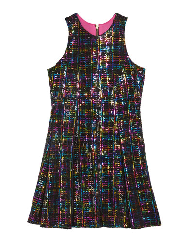 Girl's Stacey Rainbow Sequin Knit Dress  Size 7-16