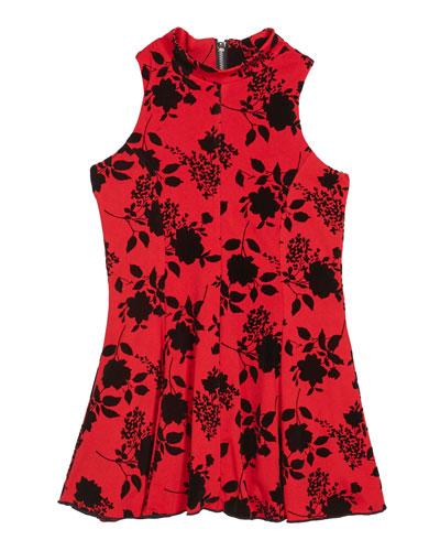 Girl's Flocked Floral High-Neck Dress  Size 7-16