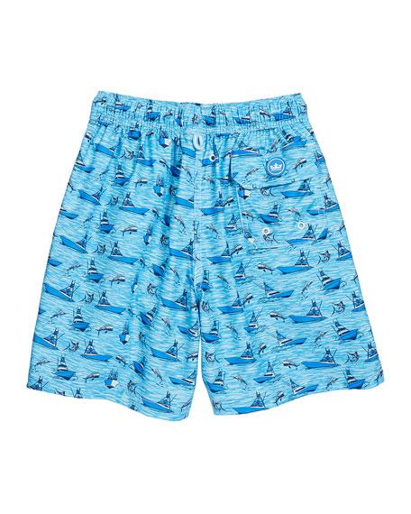Boy's Gulf Stream Sailboats & Swordfish Print Swim Trunks, Size XXS-XL