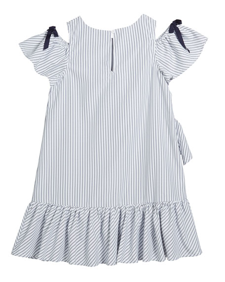 Girl's Striped Cold-Shoulder Ruffle Shift Dress, Size 7-14