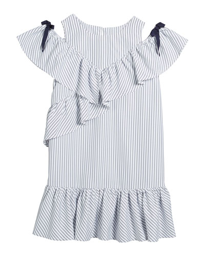 Girl's Striped Cold-Shoulder Ruffle Shift Dress  Size 7-14