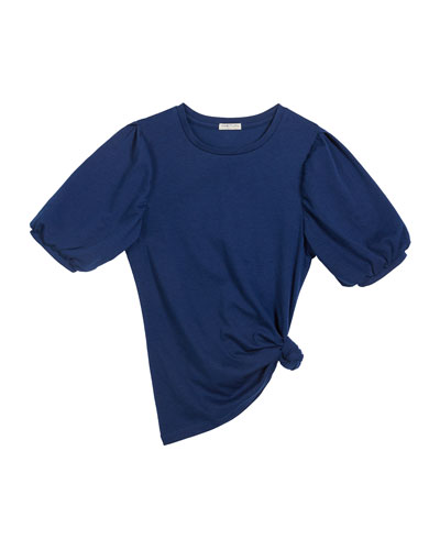 Girl's Solid Balloon-Sleeve Top  Size 7-14