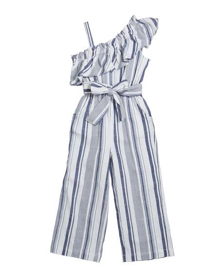 Girl's Ruffle Multi-Stripe Wide Leg Jumpsuit, Size 7-14