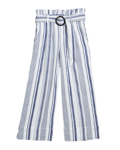 Girl's Striped Paper Bag Belted Pants  Size 7-14