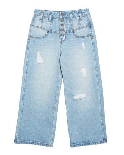 Girl's Multi Snap Wide-Leg Distressed Jeans  Size 7-14