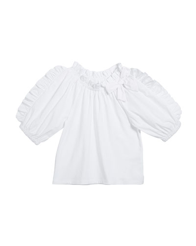 Girl's Ruffle-Sleeve Fit-And-Flare Top  Size 7-12