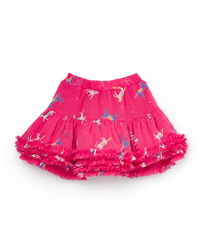 Girl's Lillian Horse Print Ruffle Layered Skirt, Size 2-6