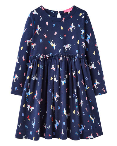 Girl's Hampton Horse Print Long-Sleeve Dress  Size 2-6