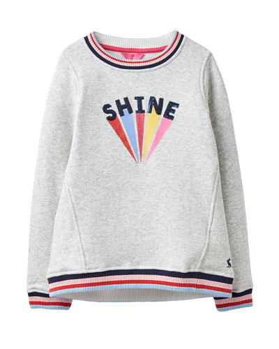 Girl's Viola Shine Striped-Trim Sweatshirt  Size 4-10