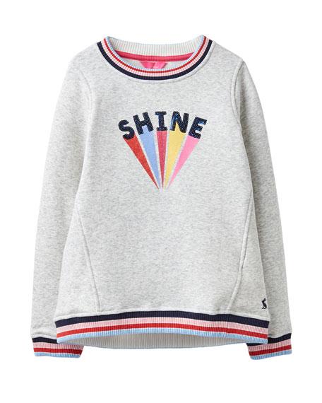 Girl's Viola Shine Striped-Trim Sweatshirt, Size 4-10
