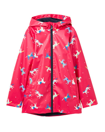 Girl's Rain Dance Horse-Print Raincoat  Size 2-6