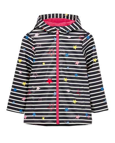 Kid's Raindance Stripe Star Print Raincoat  Size 4-10