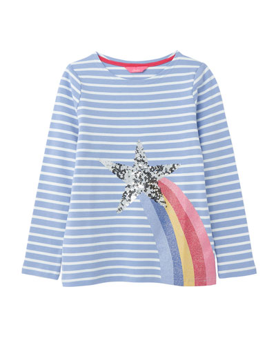 Girl's Harbour Luxe Striped Sequin Star Top  Size 4-10