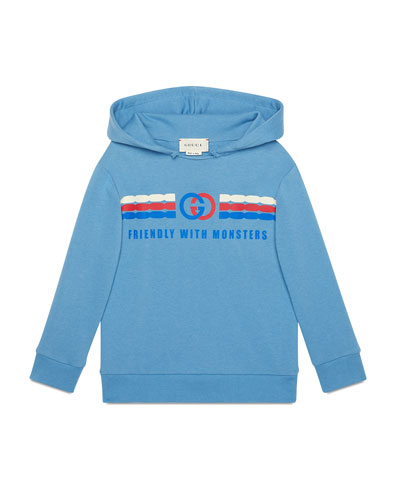 Kid's Friendly with Monsters Graphic Hoodie  Size 4-12