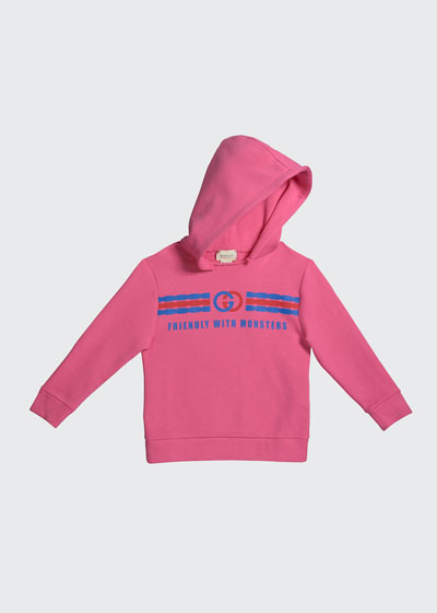 Girl's Friendly with Monsters Logo Fleece Hoodie  Size 4-12