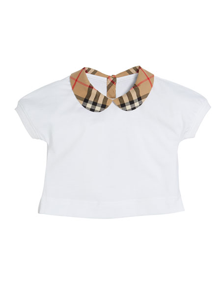 Image 1 of 1: Mini Della Jersey Top w/ Check Collar, Size 6M - 2