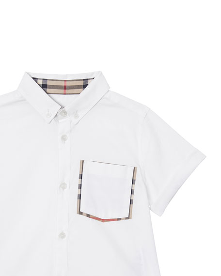 Boy's Harry Button Front Shirt w/ Check Trim Pocket, Size 3-14