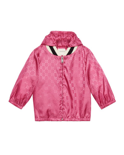 Girl's GG Embossed Zip-Front Hooded Wind-Resistant Jacket, Size 12-36 Months
