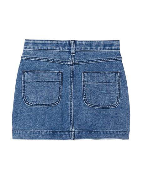 Girl's Emilia Button Front Logo Denim Skirt, Size 3-14