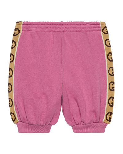 Girl's Jogging Pants w/ GG Jacquard Side-Trim, Size 9-36 Months