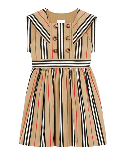 Girl's Oralie Icon Stripe Sailor Dress  Size 3-14