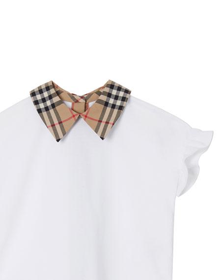 Girl's Dita Jersey Ruffle Sleeves Shirt w/ Check Collar, Size 3-14