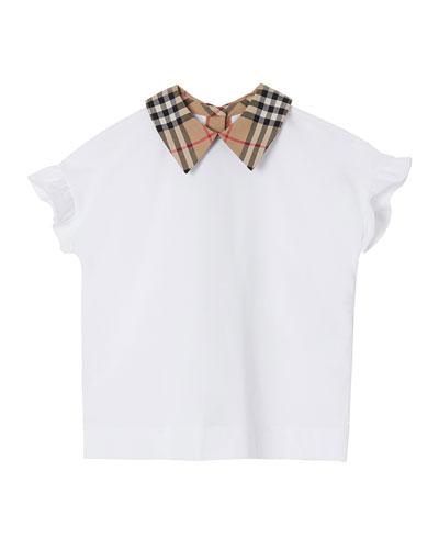 Girl's Dita Jersey Ruffle Sleeves Shirt w/ Check Collar  Size 3-14