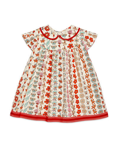 Girl's Floral Stripe Short-Sleeve Poplin Dress  Size 12-36 Months