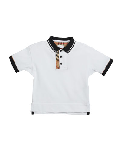 Boy's Archie Check-Trim Polo Shirt  Size 3-14