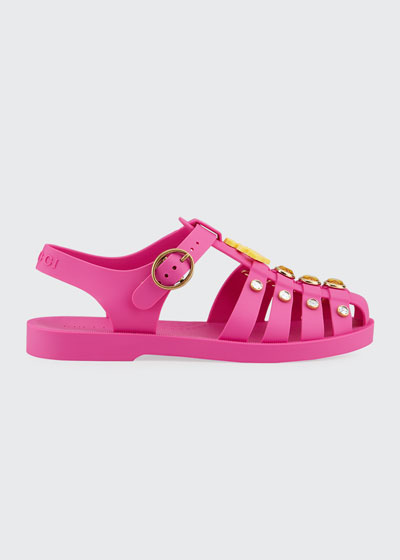 Crystal Trim Cutout Jelly Sandals  Toddler/Kids