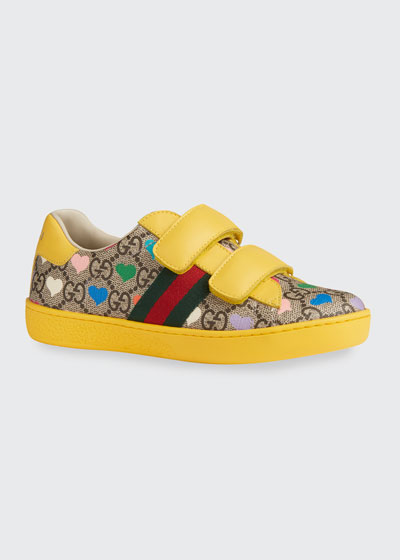 New Ace GG Supreme Hearts-Print Sneakers  Toddler/Kids