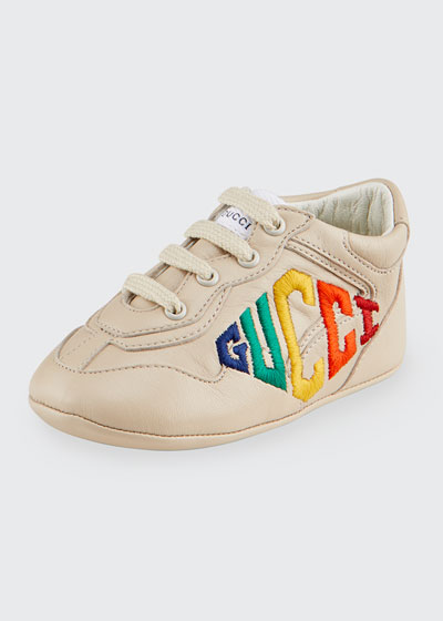 Rhyton Rainbow Logo Embroidered Leather Sneakers  Baby