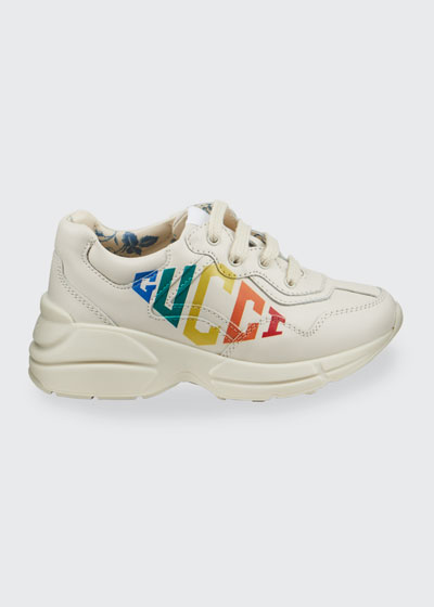 Rhyton Rainbow Logo Chunky Leather Sneakers  Baby/Toddler