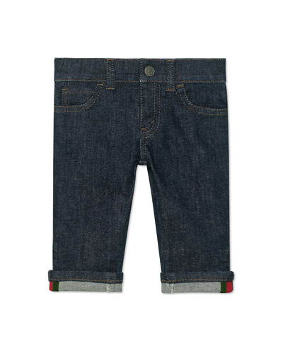 Kid's Straight-Leg Dark Denim Pants  Size 6-36 Months