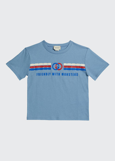 Kid's Friendly with Monsters Logo Tee  Size 4-12