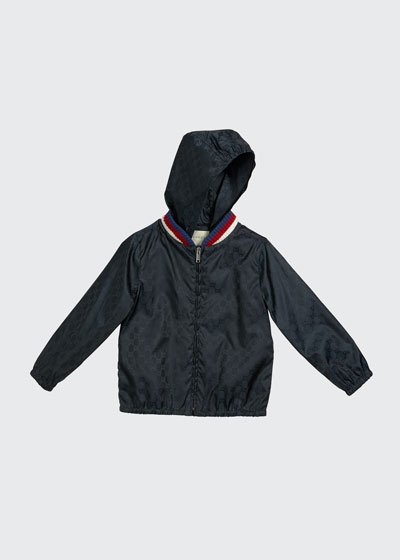 Girl's GG Jacquard Hooded Wind-Resistant Jacket  Size 4-12
