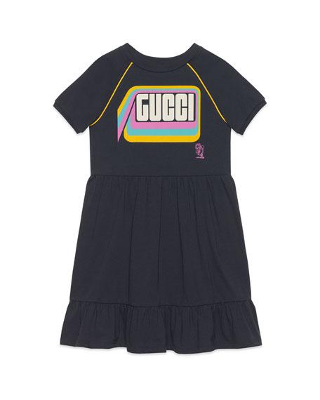 Image 1 of 1: Mod Logo Graphic Short-Sleeve Dress w/ Ruffle Hem, Size 4-12