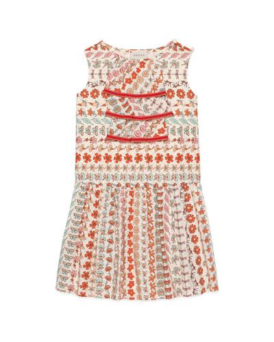 Spring Bouquet Striped Poplin Sleeveless Dress  Size 4-12