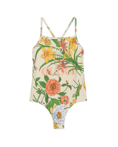 Girl's Floral Embroidered Tennis-Logo One-Piece Swimsuit, Size 4-10