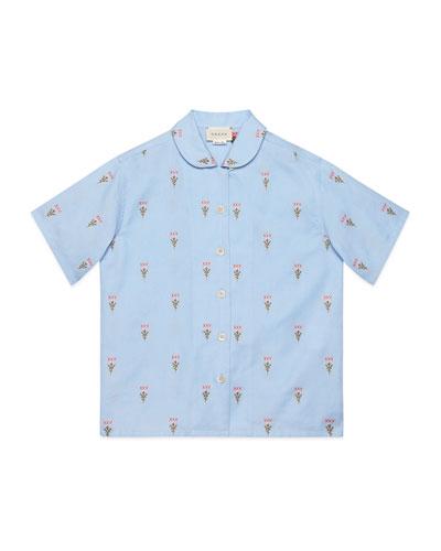 Girl's XXV & Flowers Fil Coup Oxford Shirt  Size 4-12