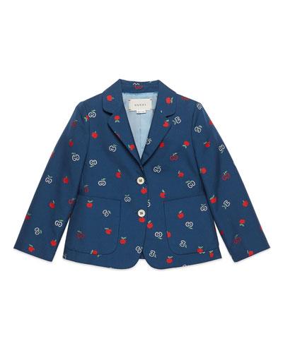 Girl's GG Apple Two-Button Blazer  Size 4-10