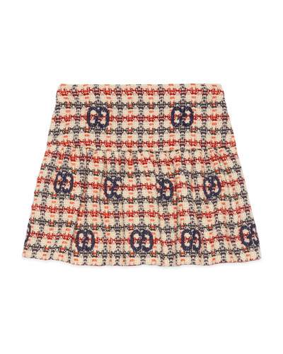 Girl's GG Fancy Check Tweed Skirt, Size 4-12
