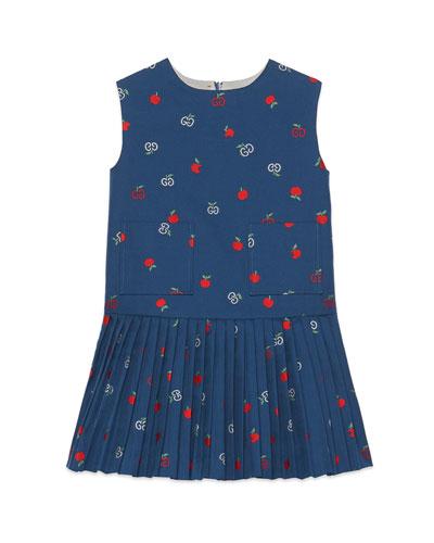 Girl's GG Apple Sleeveless Oxford Dress  Size 4-12