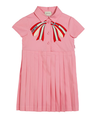 Girl's Collared Pleated Dress w/ Logo Bow Applique  Size 4-12